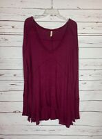 Free People Women's L Large Wine Waffle Thermal Long Sleeve Cute Tunic Top Shirt