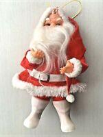 "Vintage Christmas Santa Claus Doll Rubber Face Beard Felt Plastic Boots Japan 7"""