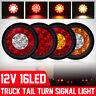 1/2/4pcs 16 LED Tail Turn Signal Brake Stop Light Round Truck Trailer Lorr