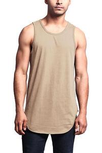 Victorious Men's Basic Long Length Curved Hem Tank Top Sleeveless T-SHIRTS -TT47