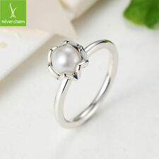 Luxury Authentic 925 Silver Finger Ring With White Pearl For Women Fashion Size8