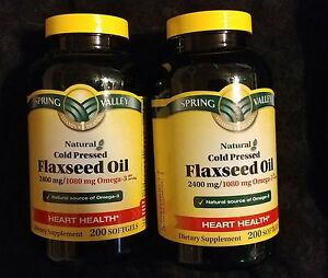 Spring Valley Flaxseed Oil 2400 mg 2 bottles 400 Soft Gels Heart Health One New