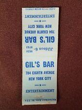 Matchcover Gil's Bar, New York City, Maryland Match