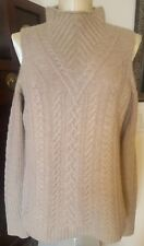 NWT AQUA 100% Cashmere Wheat Taupe Thick Cable Knit Cold Shoulder Sweater - sz L