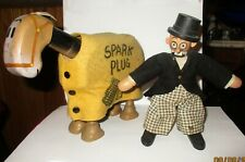 1922 Schoenhut Barney Google & AC Spark Plug Horse & Man Jointed Wood Dolls