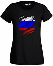 Torn Russia Flag Womens T-Shirt Russian Moscow Country national football