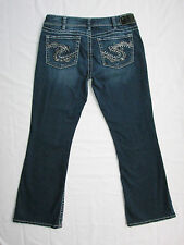 Silver Brand Jeans Suki Crystal Bling Pocket Bootcut Size 33 X29.5 Thick Stitch