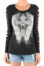 Sexy Top Large Black Long Sleeve Cross Wings Rhinestones Studs Tattoo Biker
