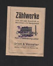 SCHWENNINGEN, Werbung 1929, Irion & Vosseler Zählerfabrik GmbH Zählwerke