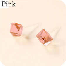 Korean Fashion Women Cube Crystal Rhinestone Ear Stud Earrings
