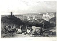 Spain, ROMAN AQUEDUCT of SEGOVIA BRIDGE ~ David Roberts 1837 Art Print Engraving