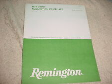 REMINGTON VINTAGE AMMUNITION PRICE LIST CATALOG 1977 EDITION FREE USA SHIP