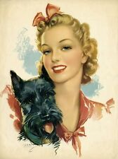 Scottish Terrier Pinup Art Refrigerator / Tool Box Magnet