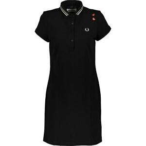 FRED PERRY x AMY WINEHOUSE FOUNDATION Women's Black Polo Dress, size UK 10
