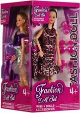 Fashion Dolls Set With Accessories Box Of 4 Assorted Display Kids Play Fun Time