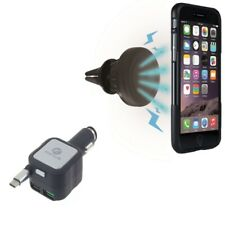 4.8Amp Retractable Charger w Air Vent Magnetic Car Mount for USB-C Phones