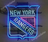 "24"" New New York Rangers Logo REAL GLASS NEON SIGN BEER BAR PUB LIGHT"
