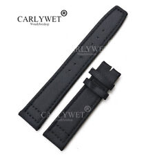 20mm Nylon Leather Black Watch Band Strap For PILOT'S Portugieser PORTUGUESE