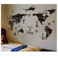 DIY World Map Removable PVC Vinyl Art Wall Sticker Room Decal Mural Home  .