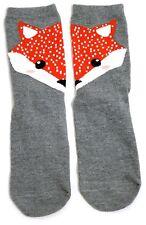 LADIES RED FOX VULPES VULPES HALF FACE EACH FOOT SOCKS UK SIZE 4-8 USA 6-10