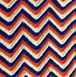 Vtg Afghan Crocheted Knit Chevron Blanket Throw 44 x 60 Red White Blue Patriotic