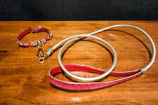 New listing Pink Embossed Croc Leather & Crystal Small Pet Collar & Leash