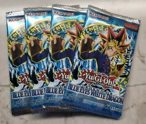 NEW YuGiOh LEGEND OF BLUE EYES WHITE DRAGON LOB Sealed Booster Pack Lot of 4