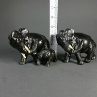 Rare Pair of Ronson Elephant Figurines w/ Baby Elephant Metal Art Paper Weights