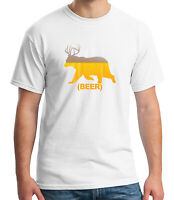 Beer Bear Antlers Adult's T-shirt Camping Drinking Party Tee for Men - 2152C