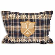 Paoletti Wimbledon Tartan Check Wool Piped Cushion Cover, Navy Blue, 35 x 50 Cm