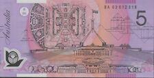 $5 2002 1st Prefix BA02 Unc Macfarlane/Henry BA Australia Five Polymer Banknote