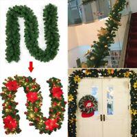 9FT Christmas Garland Fireplace Wreath Xmas Rattan Pine DIY Decor US Shipping