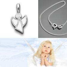 Taufkette Schutz Engel Anhänger weiss emaillierte Flügel mit Kette Silber 925