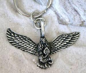 FLYING EAGLE SNAKE BIKER  Pewter KEYCHAIN Key Ring FOB