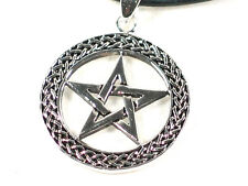 Silver plated Wiccan pentacle Pendant with woven border. Pagan Gothic Protection