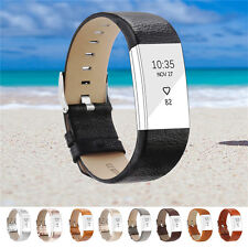 Leather Luxury Wristband Bracelet Band Strap for Fitbit Charge 2 Watch UK STOCK
