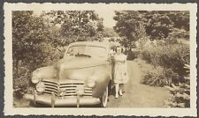 Vintage Car Photo Pretty Girl w/ 1941 Chrysler Automobile 758333
