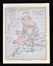 1892 Map England Wales 1643 King & Parliament Districts London Original Antique
