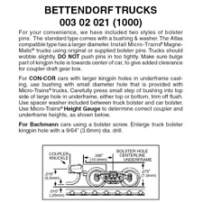 Micro-Trains 00302021 - Bettendorf Trucks With Short Extension Couplers (1000...