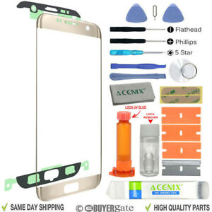 Samsung Galaxy S7 Edge Replacement Screen Front Glass lens Repair Kit GOLD UK