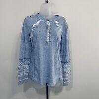 Sundance Top Size S Textured Shirt Embellishments Lace Long Sleeves Boho Blue