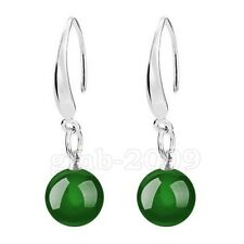 Round Bead Silver Dangle Earrings Fashion Women's Natural Green Emerald