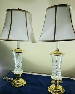 Pair Stiffel Brass & Cut Crystal Table Lamps Hollywood Regency Mid Century