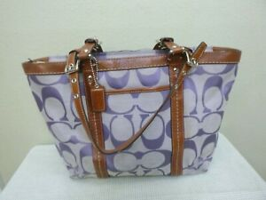 COACH Purple Creed Monogram Brown Leather Medium Shoulder Handbag Purse Tote