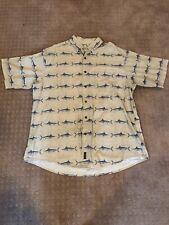 Woolrich Sword Fish Marlin Button Down T Shirt XL Collared Tan