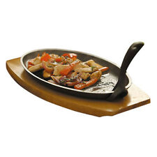 Cast Iron BBQ Sizzler Steak Sizzling Platter With Wooden Trivet Serving Dish