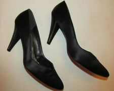 STUART WEITZMAN  MARTINIQUE black satin with rhinestone heels pumps shoes 7.5 m