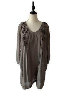 Witchery Womens Long Sleeve Brown Khaki Grey V Neck Lines Shift Dress 12