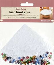 Kitchen Craft 20cm Weighted White Lace Food Bowl Cover With Coloured Bead Edge