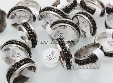 30pcs Wholesale Lots Stainless Steel Black Chain Spinner Men Ring SZ17-21mm